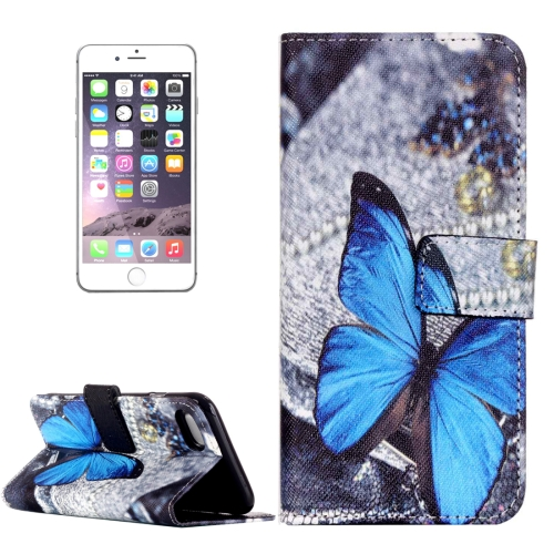 Buy For iPhone 8 Plus & 7 Plus Embossed Blue Butterfly Pattern Horizontal Flip Leather Case with Card Slots & Wallet & Holder for $2.17 in SUNSKY store