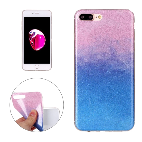 Buy For iPhone 8 Plus & 7 Plus Glitter Powder Soft TPU Protective Cover Case (Pink Blue) for $1.41 in SUNSKY store
