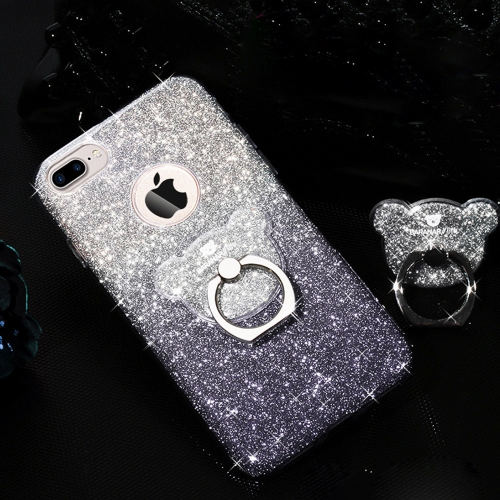 Buy AIQAA For iPhone 8 Plus & 7 Plus TPU Glitter Powder Drop-proof Protective Case with Bear Ring Holder, Purple for $3.45 in SUNSKY store