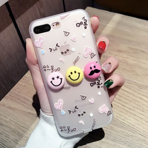 Buy For iPhone 8 Plus & 7 Plus 3D Smiling Face Expression Love Pattern Silicone Protective Cover Case with USB & Earphone Port Anti-Dust Plug for $2.68 in SUNSKY store