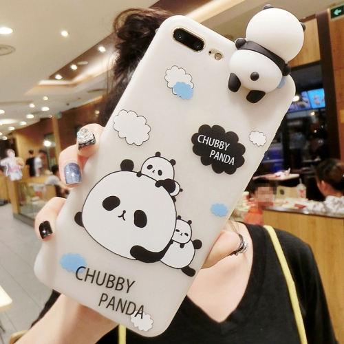 For iPhone 8 Plus & 7 Plus   Three Pandas Pattern 3D Lovely Papa Panda Dropproof Protective Back Cover Case