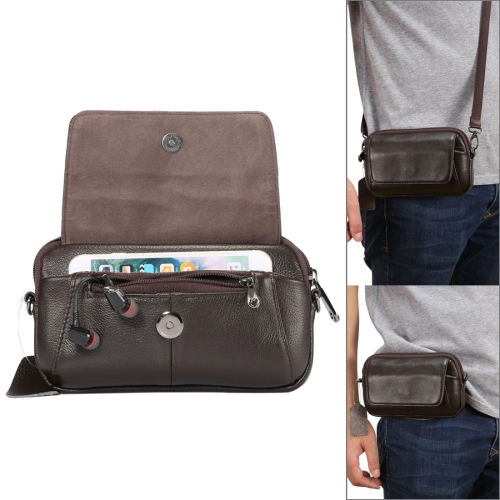 6.5 inch and Below Universal Litchi Small Texture Genuine Leather Men Horizontal Style Case Shoulder Carrying Bag with Belt Hole for Sony, Huawei, Meizu, Lenovo, ASUS, Cubot, Oneplus, Xiaomi, Ulefone, Letv, DOOGEE, Vkworld, and other Smartphones (Coffee)