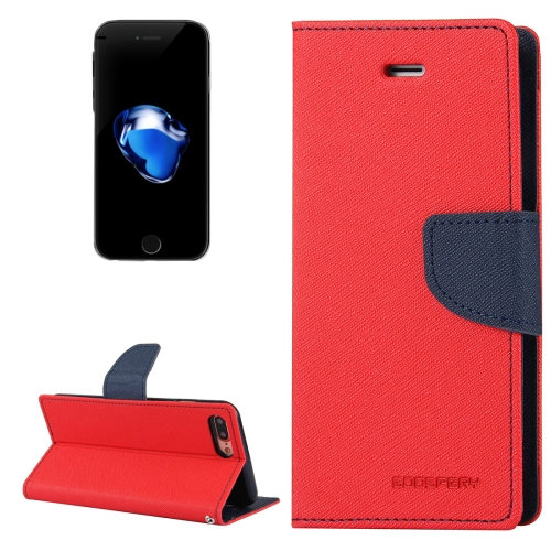 MERCURY GOOSPERY FANCY DIARY for iPhone 8 Plus & 7 Plus Cross Texture Horizontal Flip Leather Case with Card Slots & Wallet & Holder(Red)