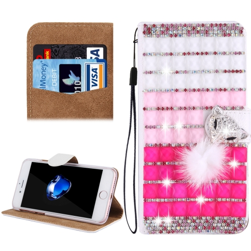 Buy Fevelove for iPhone 8 Plus & 7 Plus Diamond Encrusted Jewel Fox Pattern Horizontal Flip Leather Case with Magnetic Buckle & Card Slots & Hand Strap for $4.79 in SUNSKY store