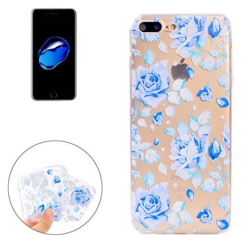 Buy For iPhone 8 Plus & 7 Plus Colorful Blue Flower Pattern Soft TPU Protective Case for $1.11 in SUNSKY store