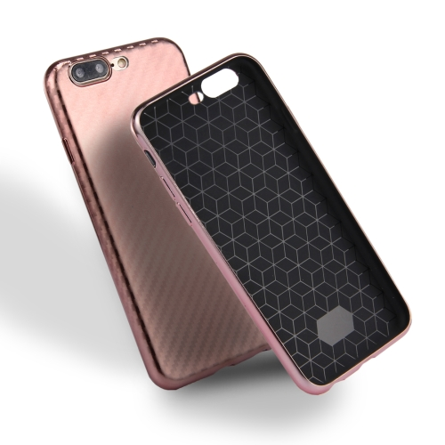 Buy For iPhone 8 Plus & 7 Plus Artistic Carbon Fibre Texture Soft TPU Protective Case Back Cover (Rose Gold) for $2.16 in SUNSKY store