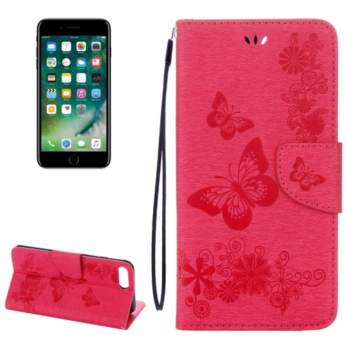 Buy For iPhone 8 Plus & 7 Plus Butterflies Embossing Horizontal Flip Leather Case with Holder & Card Slots & Wallet & Lanyard, Magenta for $2.07 in SUNSKY store