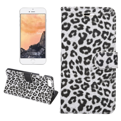 For iPhone 8 Plus & 7 Plus Leopard Texture Horizontal Flip Leather Case with Holder & Card Slots & Wallet(White)