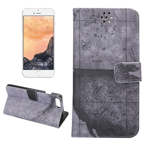 Buy For iPhone 8 Plus & 7 Plus Map Texture Magnetic Adsorption Horizontal Flip Leather Case with Card Slot & Holder & Wallet, Random Pattern Delivery, Grey for $2.50 in SUNSKY store