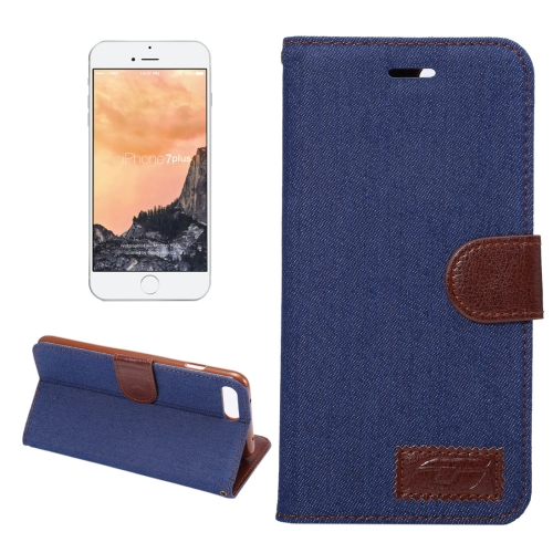 Buy For iPhone 8 Plus & 7 Plus Cowboy Cloth Texture Magnetic Adsorption Horizontal Flip Leather Case with Card Slot & Holder & Wallet (Dark Blue) for $2.43 in SUNSKY store