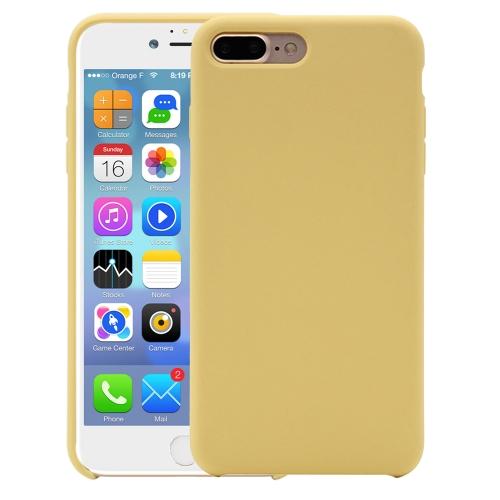 Pure Color Liquid Silicone Case for iPhone 8 Plus & 7 Plus(Yellow)