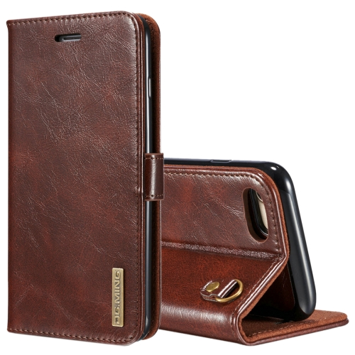 Buy DG.MING for iPhone 8 & 7 Genuine Leather Horizontal Flip Detachable Magnetic Protective Case with Holder & Card Slots & Lanyard, Coffee for $7.08 in SUNSKY store