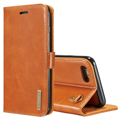 Buy DG.MING for iPhone 8 & 7 Genuine Leather Horizontal Flip Detachable Magnetic Protective Case with Holder & Card Slots & Lanyard, Brown for $7.08 in SUNSKY store