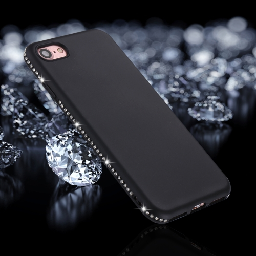 For iPhone 8 & 7 Crystal Decor Sides Frosted Soft TPU Protective Back Case (Black) baseus little devil case for iphone 7 black