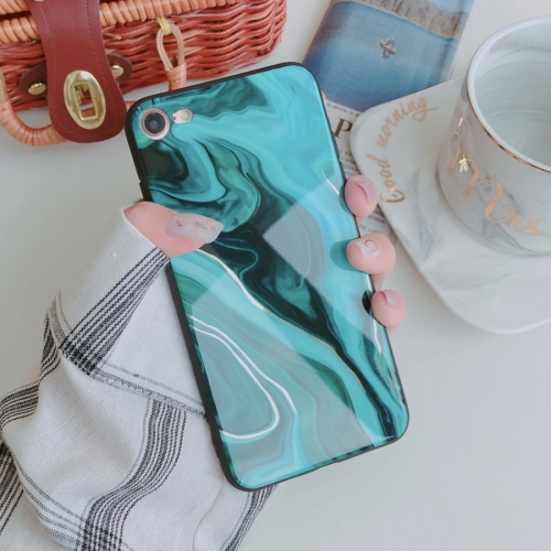 Color Marble Pattern Case for iPhone 8 & 7(Green)