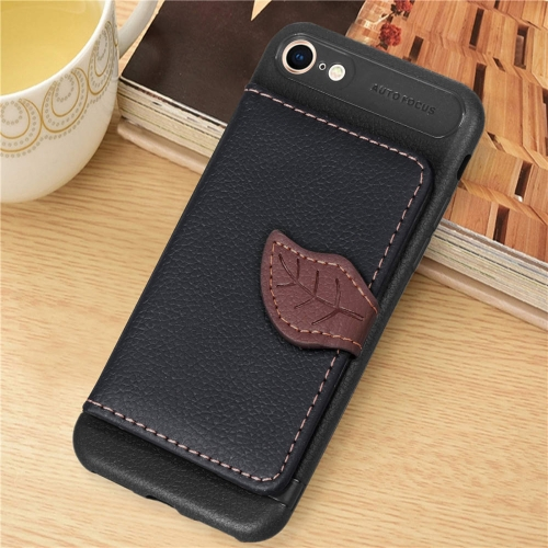Leaf Style Magnetic Leather Case for iPhone 8 & 7 , with Holder & Card Slots & Wallet & Photo Frame (Black) 8 in 1 memory card storage case holder for ps vita translucent black