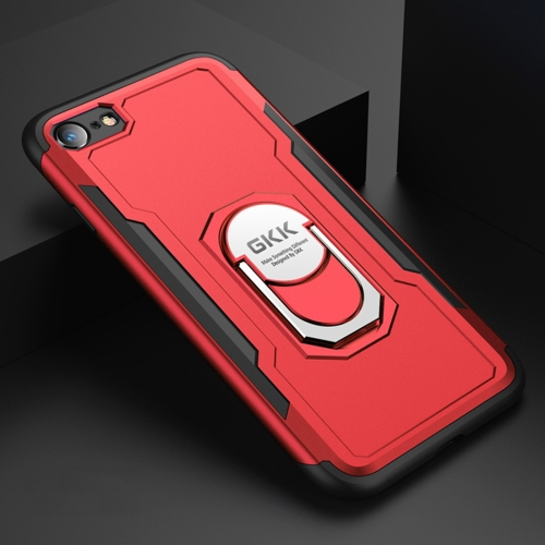 GKK Magnetic 360 Degree Rotation Ring Holder PC + TPU Armor Protective Case for iPhone 7 / 8 (Red)