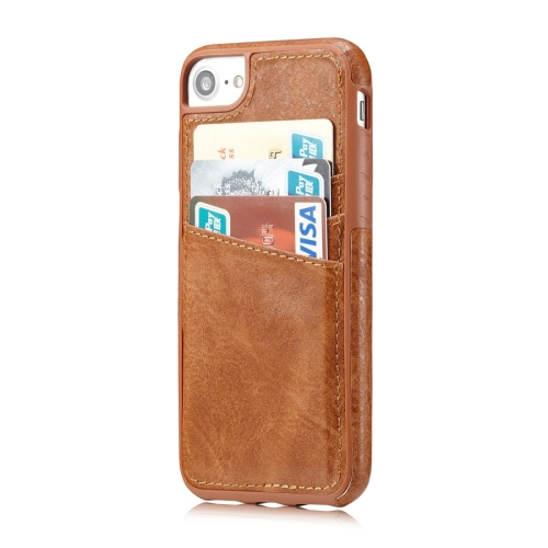 Buy M109 for iPhone 8 & 7 Retro PU Leather Texture Shockproof Protective Back Cover Case with 3 Card Slots, Brown for $3.68 in SUNSKY store