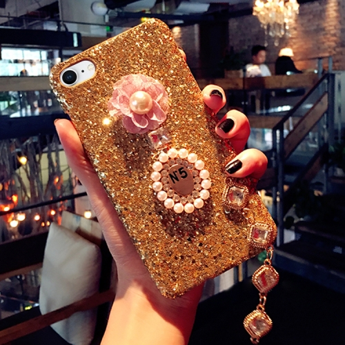 Buy For iPhone 8 & 7 Luxury Style Diamante Sequins Glitter Powder Protective Back Cover Case with Pendant, Gold for $4.20 in SUNSKY store