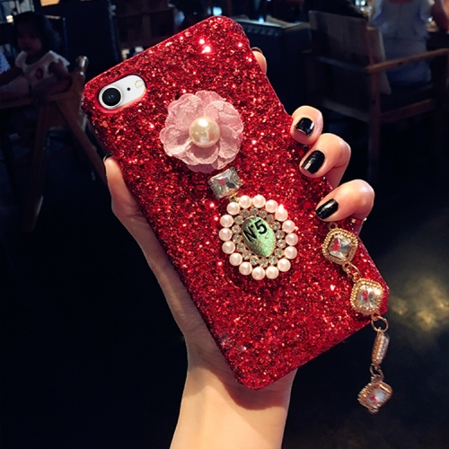 Buy For iPhone 8 & 7 Luxury Style Diamante Sequins Glitter Powder Protective Back Cover Case with Pendant, Red for $4.20 in SUNSKY store
