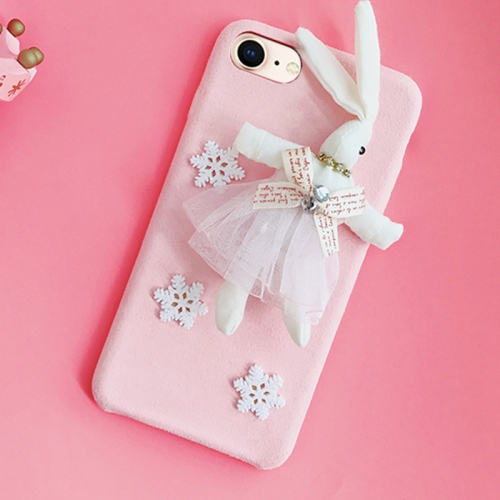 Buy For iPhone 8 & 7 Creative Cute Plush Cloth 3D Snowflake Plush Rabbit Protective Back Cover Case, Pink for $4.20 in SUNSKY store