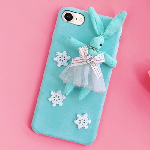Buy For iPhone 8 & 7 Creative Cute Plush Cloth 3D Snowflake Plush Rabbit Protective Back Cover Case, Blue for $4.20 in SUNSKY store