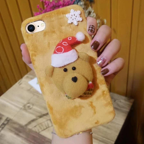 Buy For iPhone 8 & 7 Cute 3D Christmas Bear Pattern Flannel Protective Back Cover Case for $4.62 in SUNSKY store