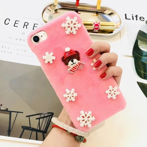Buy For iPhone 8 & 7 Fashion Cute 3D Snow Christmas Bear Pattern Flannel Protective Back Cover Case, Pink for $3.98 in SUNSKY store