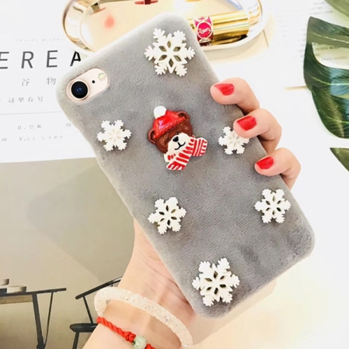 Buy For iPhone 8 & 7 Fashion Cute 3D Snow Christmas Bear Pattern Flannel Protective Back Cover Case, Grey for $4.23 in SUNSKY store
