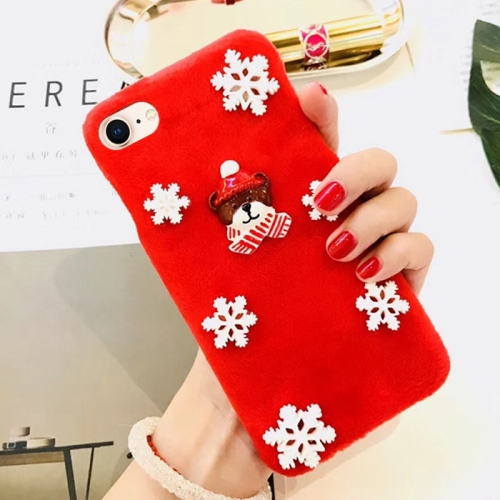 Buy For iPhone 8 & 7 Fashion Cute 3D Snow Christmas Bear Pattern Flannel Protective Back Cover Case, Red for $4.19 in SUNSKY store