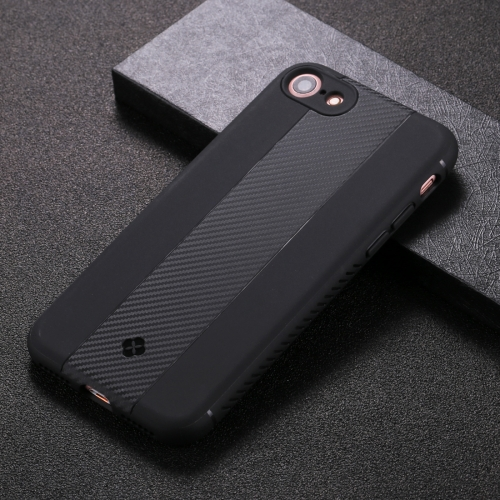 TOTUDESIGN For iPhone 8 & 7 Carbon Fiber Texture TPU Anti-slip Soft Protective Back Cover Case(Black) protective anti radiation aviation aluminum alloy bumper frame case for iphone 5 5s