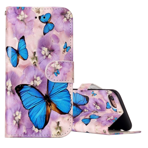 Buy For iPhone 8 & 7 Embossed Purple Butterfly Pattern Horizontal Flip Leather Case with Holder & Card Slots & Wallet & Photo Frame for $3.19 in SUNSKY store