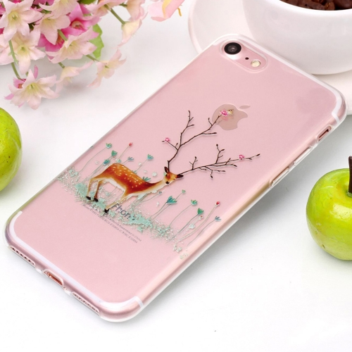 For iPhone 8 & 7 Tree Branch Elk Pattern High Transparency Soft TPU Protective Case