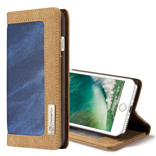 Buy CaseMe for iPhone 8 & 7 Denim + Canvas + PC Material Horizontal Flip Leather Case with Card Slot & Holder & Wallet & Photo Frame, Blue for $4.72 in SUNSKY store