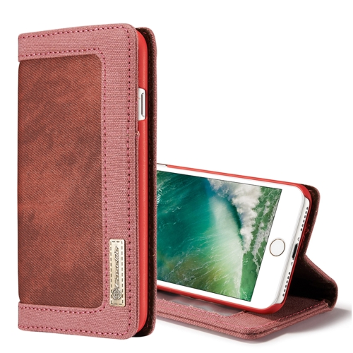 Buy CaseMe for iPhone 8 & 7 Denim + Canvas + PC Material Horizontal Flip Leather Case with Card Slot & Holder & Wallet & Photo Frame, Red for $4.72 in SUNSKY store