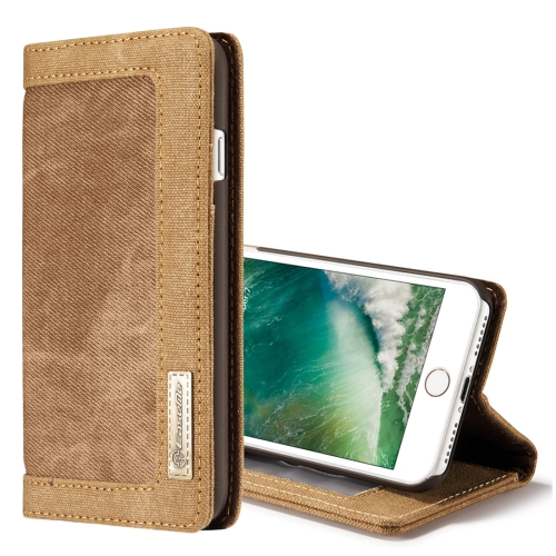 Buy CaseMe for iPhone 8 & 7 Denim + Canvas + PC Material Horizontal Flip Leather Case with Card Slot & Holder & Wallet & Photo Frame, Brown for $4.72 in SUNSKY store