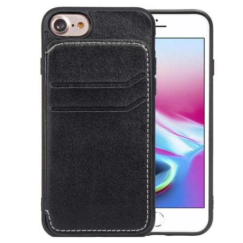 Simple Leather Texture TPU Magnetic Leather Case for iPhone 8 & 7 & 6, with Holder & Card Slots & Wallet (Black)