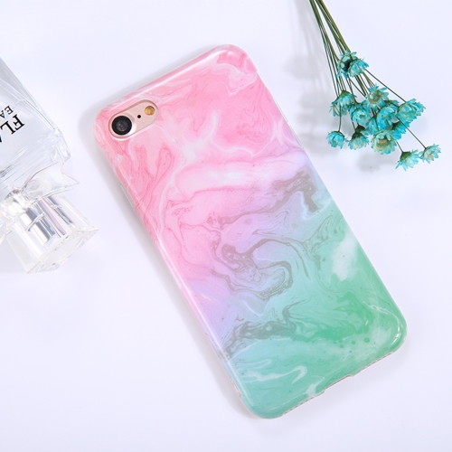 For iPhone 8 & 7 Pink Green Marble Pattern TPU Full Coverage Shockproof Protective Back Cover Case ultra thin leopard print pattern protective tpu back case for iphone 5 5s pink