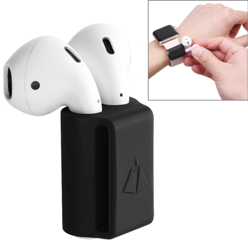 Portable Watches Wireless Bluetooth Earphone Silicone Protective Box Anti-lost Dropproof Storage Bag for Apple AirPods 1/2 (Earphone is not Included)(Black)
