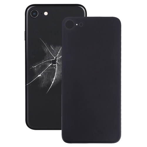Easy Replacement Big Camera Hole Glass Back Battery Cover with Adhesive for iPhone 8(Black)