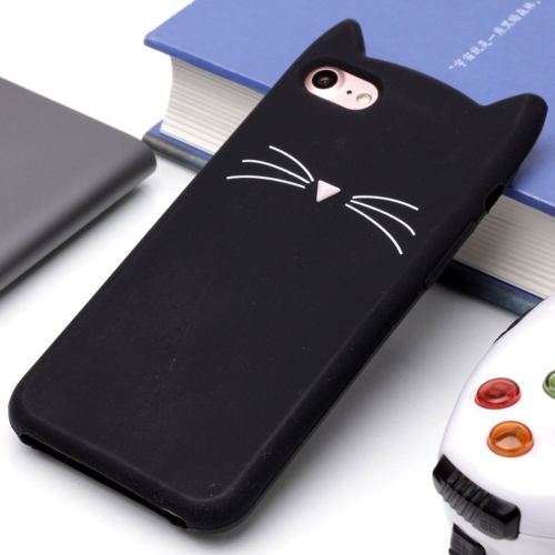 For iPhone 8 & 7 Silicone Cat Whiskers Pattern Protective Back Cover Case (Black) baseus little devil case for iphone 7 black