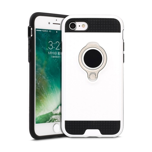 Buy For iPhone 8 & 7 TPU + PC Shockproof Protective Back Case with Magnetic Rotatable Ring Holder, White for $2.29 in SUNSKY store