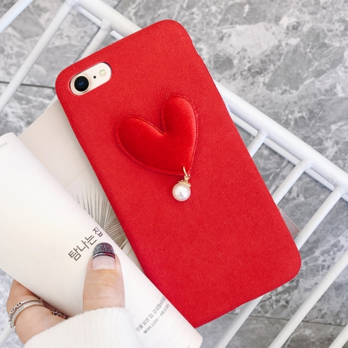 For iPhone 8 & 7 Simple Love Pattern Protective Back Cover, Red
