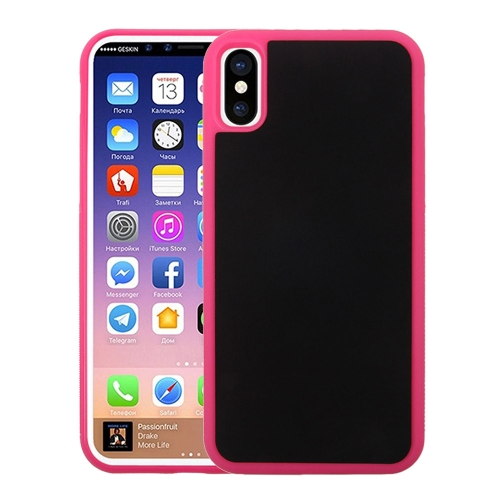 For iPhone X TPU + PC Anti-Gravity Dropproof Protective Back Cover Case, Magenta