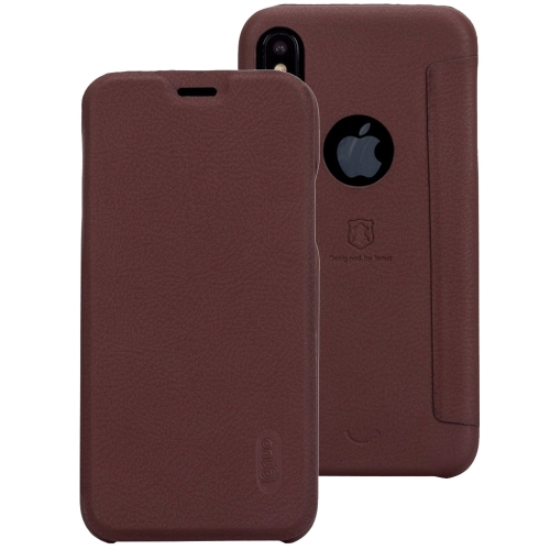 Buy Lenuo for iPhone X PU+PC Litchi Texture Horizontal Flip Leather Case with Card Slots, Brown for $3.49 in SUNSKY store