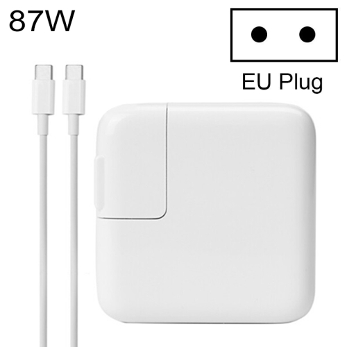 87W Type-C Power Adapter Portable Charger with 1.8m Type-C Charging Cable, EU Plug, For MacBook, Xiaomi, Huawei, Lenovo, ASUS and other Laptops (White)