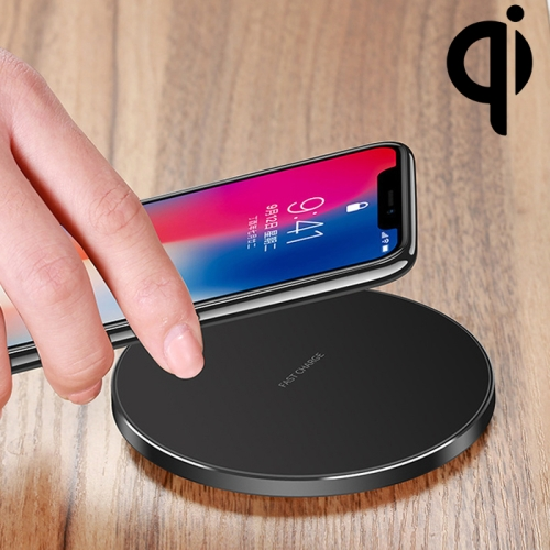 GY-68 Ultra-Thin Aluminum Alloy Wireless Fast Charging Qi Charger Pad(Black)