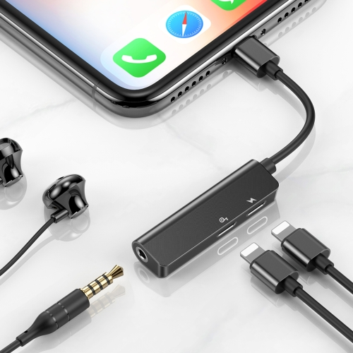 Baseus L52 3 In 1 8 Pin Male to 3.5mm Female + Dual 8 Pin Female Charging Call Listening Song Metal Audio Headphone Adapter(Black)