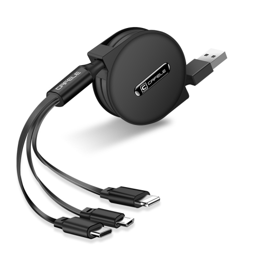 CAFELE 3 In 1 8 Pin + Micro USB + Type-C / USB-C Charging Data Cable, Length: 1.2m(Black)