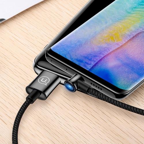 USAMS US-SJ342 U13 Type-C / USB-C Angle Head Design Intelligent Power Cut Charging Cable, Length: 2m (Black)